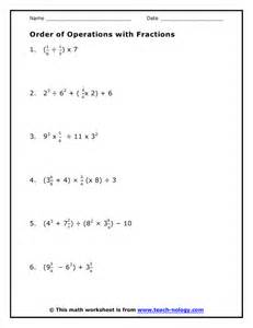 Order Of Operation Worksheet Order Of Operations With Fractions