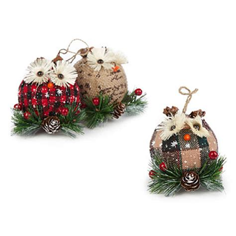 burlap owl ornaments 3 pack big lots