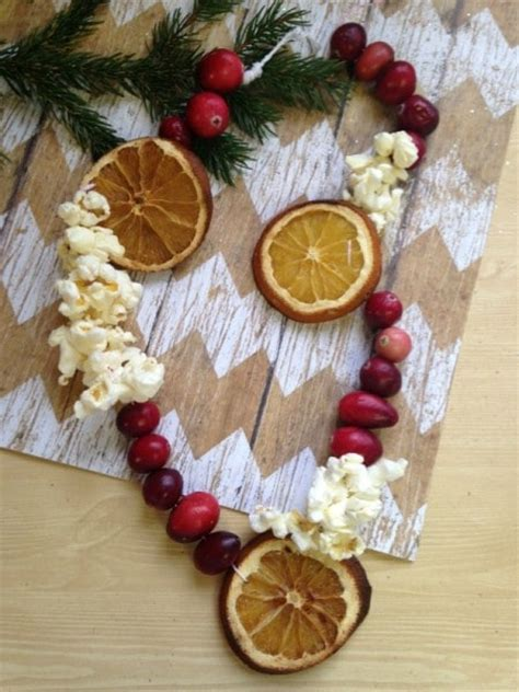 diy dried fruit  popcorn garland