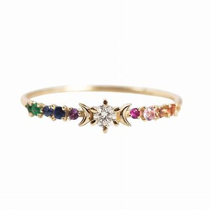 Rainbow Ring Engagement Stardust Rings Catbirdnyc Diamond