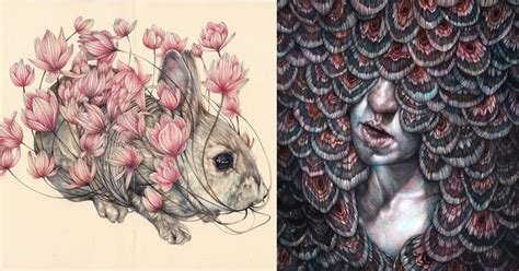 detailed colored pencil drawings  entangled flora