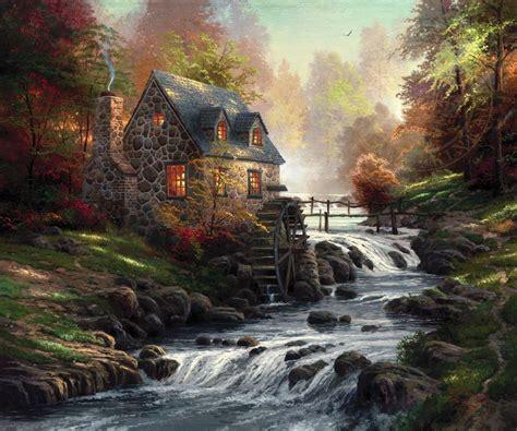 kinkade cottage paintings cobblestone mill limited edition kinkade