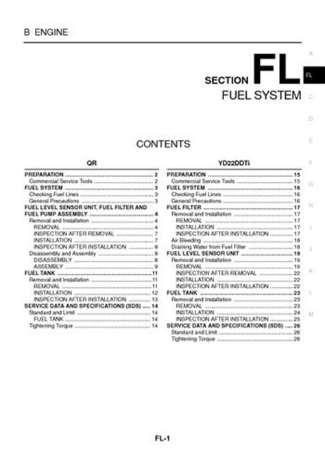 Nissan Trail Fuel System Section Pdf