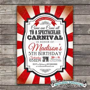 post wedding invitations items similar to vintage carnival theme birthday