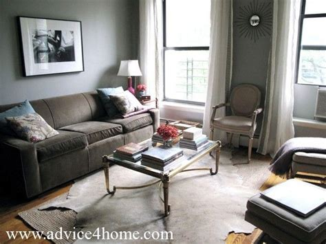 Living Room With Brown Sofa & Cool Grey Walls
