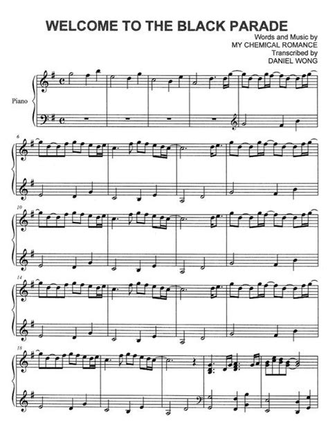 black parade piano sheet