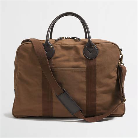 jcrew factory carson duffel bag  brown  men dark khaki canvas lyst