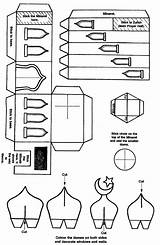 Template Crafts Mosque Ramadan Craft Eid 3d Paper Islamic Masjid A4 Islam Activities Build Muslim Sheet Crafters Coloring Templates Zaufishan sketch template