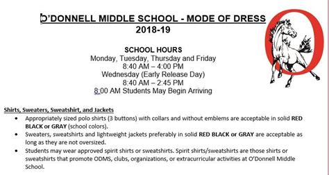 odonnell middle school homepage