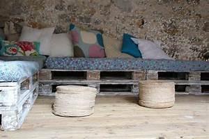 Coussin Banquette Palette : 11 id es de mobilier de jardin en palettes ~ Teatrodelosmanantiales.com Idées de Décoration