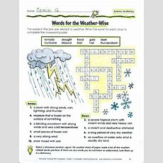 Words For The Weather Wise (science Vocabulary)  Printable Skills Sheets And Crossword Puzzles