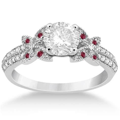 Diamond & Ruby Butterfly Engagement Ring Setting 14k White