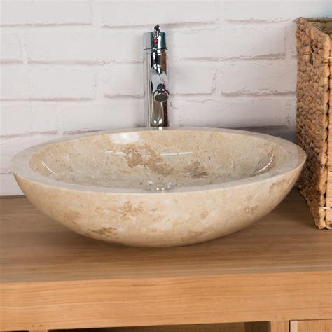 vasque 224 poser en marbre barcelone ronde cr 232 me d 45 cm