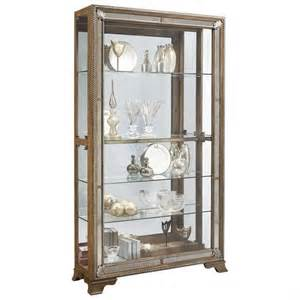pulaski light wood metallic curio cabinet ebay