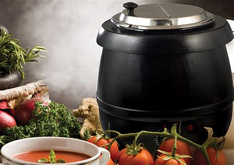 electric deluxe soup warmer set winco