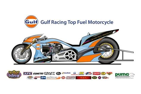 gulf racing motorcycle gulf racing top fuel drag bike previewed autoevolution