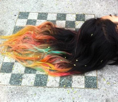 Sunset Ombre Dip Dyed Hair Clip In Hair Extensions Tie Dye