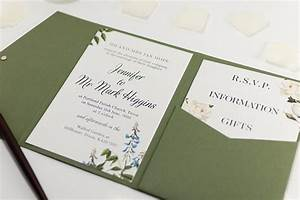 botanic wedding invitation in olive green pocketfold With wedding invitations folded pocket uk