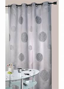 Rideau Gris Et Blanc : rideau gris en shantung brod ronds m l s gris ~ Dailycaller-alerts.com Idées de Décoration