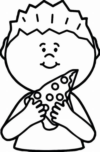 Pizza Coloring Pages Printable Drawing Eating Boy