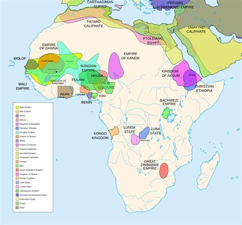 Precolonial Map Of Africa Delineating Major Kingdoms
