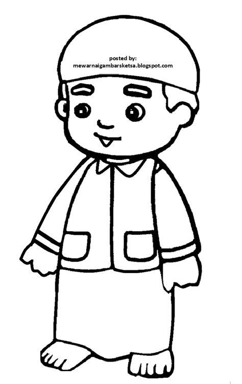mewarnai gambar mewarnai gambar sketsa kartun anak muslim 35