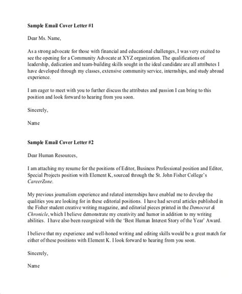 Email Cover Letter Exle by Sle Resume Cover Letter Format 6 Documents In Pdf Word