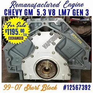 Gm Chevy 5 3l Gen 3 Lm7 Engine Short Block For Sale