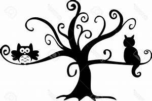 Best 15 Halloween Night Owl And Cat In Tree Stock Vector ...