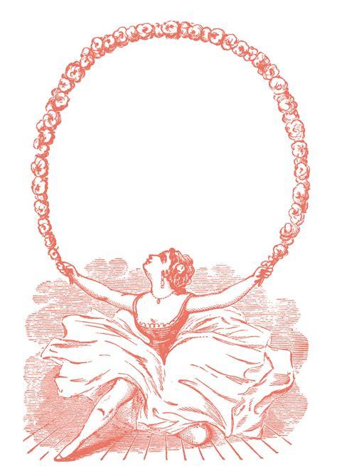 vintage clip art ballerina  garland graphic frame