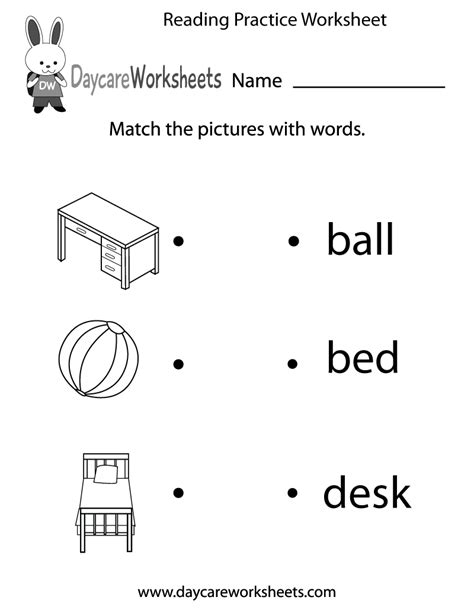 reading practice worksheet  preschool