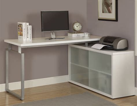 White Desk L by White L Shaped Desk With Frosted Glass Contemporary