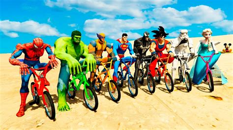 color bmx bike extreme challenge  spiderman batman