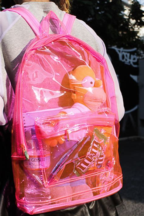 Women Fashion Transparent Clear Backpack Plastic Student