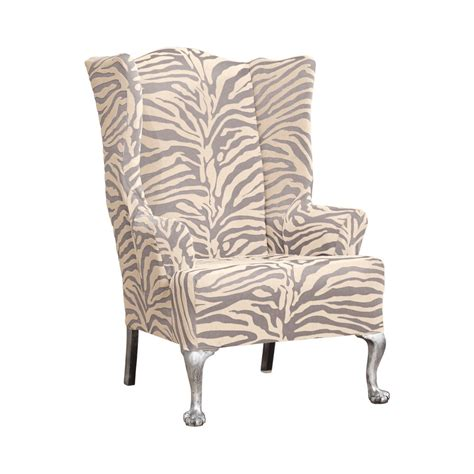 slipcover for wing chair sure fit stretch zebra wing chair slipcover ebay