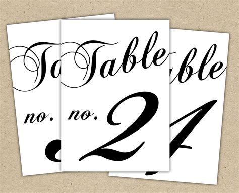 printable custom wedding table number templates