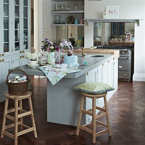 Best Kitchen Flooring Uk by Pale Blue Kitchen With Parquet Flooring Kitchen Flooring