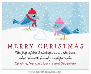 Birds in the snow cute Christmas holiday card More than