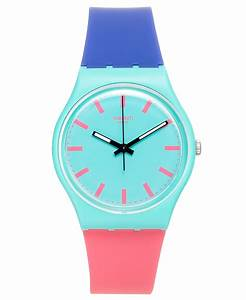 Swatch Unisex Swiss Shunbukin Blue And Pink Silicone Strap ...