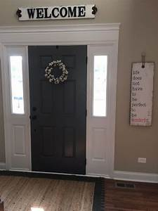 The, Parsons, Family, Added, Door, Trim, And, Painted, Front, Door, Benjamin, Moore, Kendall, Charcoal