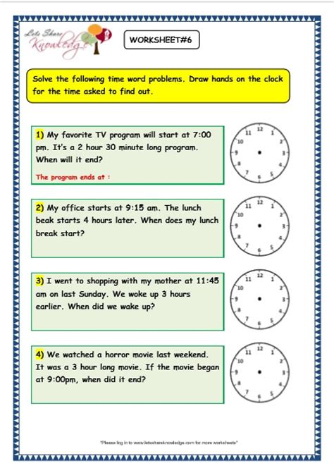 grade 3 maths worksheets 8 5 time problems lets