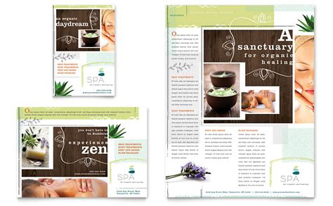 day spa flyer ad template word publisher