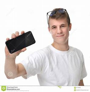Happy Young Man Show Display Of Mobile Cell Phone With ...