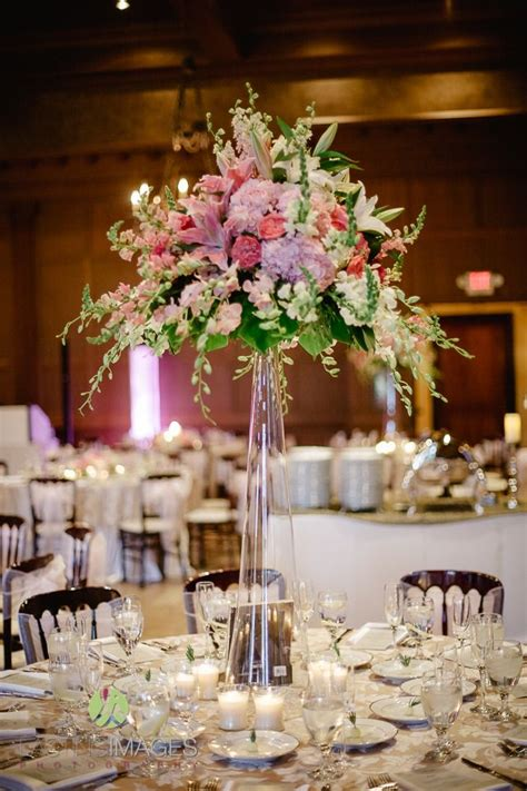 flower table decorations for weddings tall glass cylinder centerpiece with pink hydrangea dark