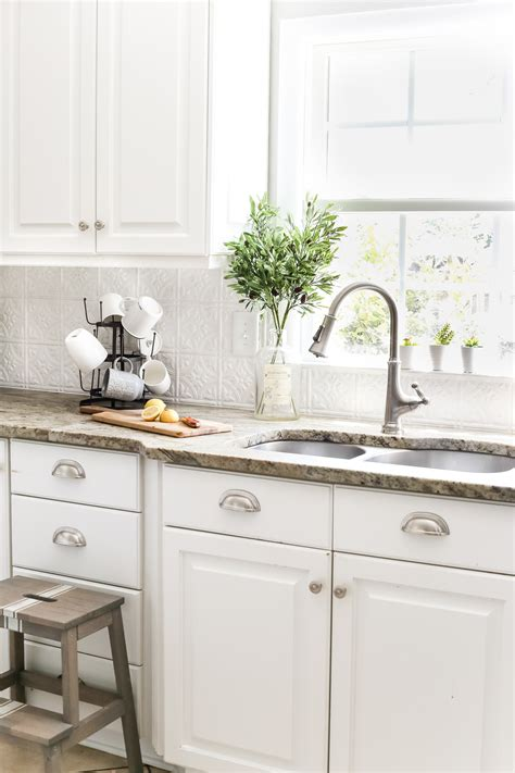 backsplash tile for white kitchen diy pressed tin kitchen backsplash bless er house 7579