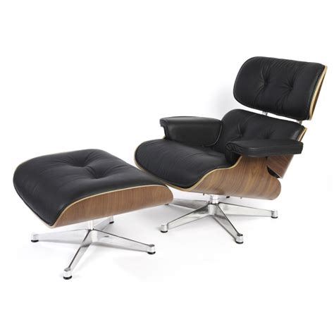 eames style contemporary leather lounge chair ottoman