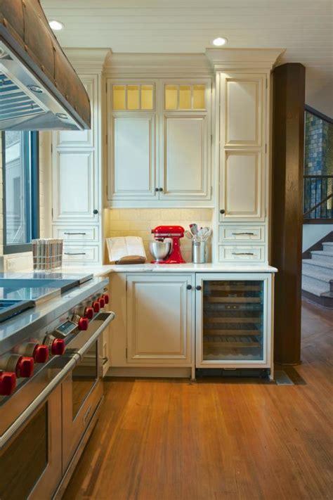 antique white country kitchen  wine refrigerator hgtv