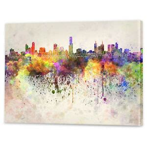 wall decor melbourne melbourne skyline watercolour canvas framed ready to