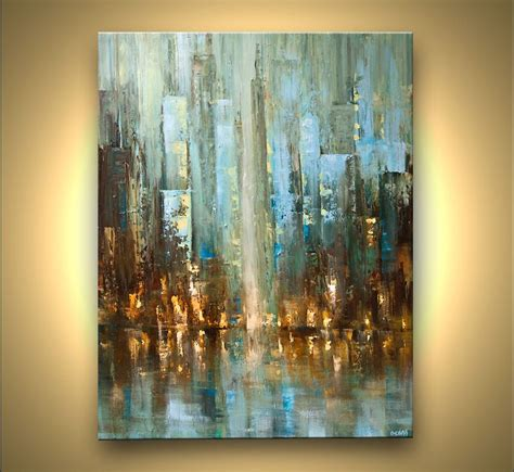 Moderne Acrylbilder Auf Keilrahmen by Contemporary Abstract City Painting Textured Palette Knife