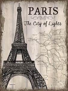 Vintage Travel Poster Paris Painting by Debbie DeWitt